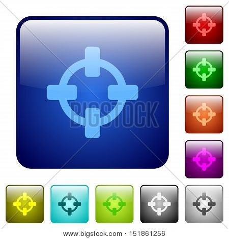 Set of target color glass rounded square buttons