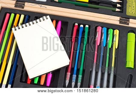 Blank note book on stationery box , education