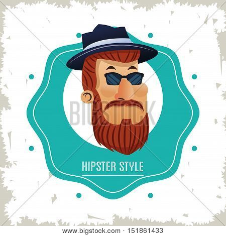 Man cartoon with mustache inside seal stamp icon. Hipster style vintage retro fashion and culture theme. Colorful and grunge design. Vector illustration