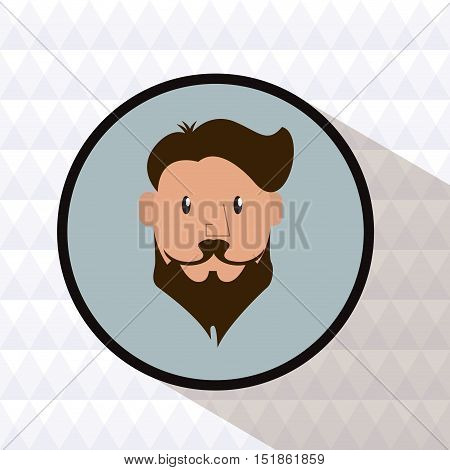 Man cartoon with mustache inside circle icon. Hipster style vintage retro fashion and culture theme. Colorful design. Polygonal background. Vector illustration