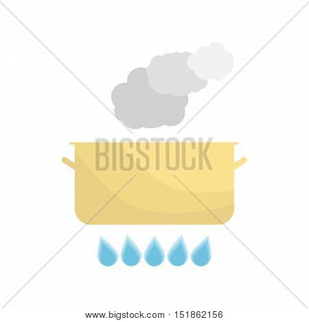 Boiling pot on the gas. Kitchen utensils over white background. Vector Illustration.