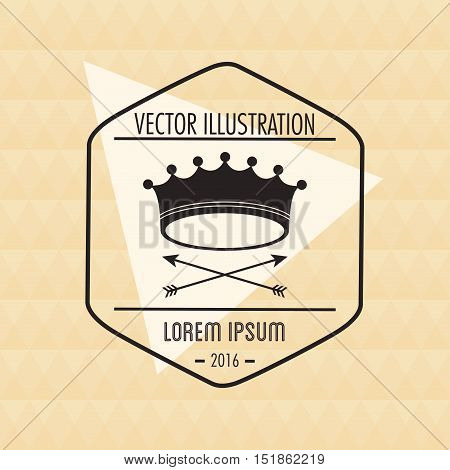 Crown and arrows icon. Hipster style vintage retro fashion and culture theme. Colorful design. Vector illustration