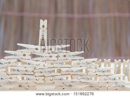 Wooden Clothes Pin ,selective Focus Point On Above Pin