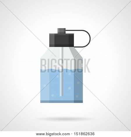 Plastic bottle with atomizer and blue liquid. After shave scented lotion. Cosmetic and skin care products for mens. Flat color style vector icon.