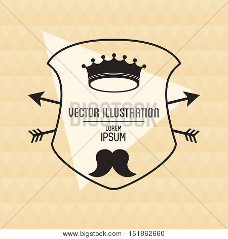 Crown and mustache icon. Hipster style vintage retro fashion and culture theme. Colorful design. Vector illustration