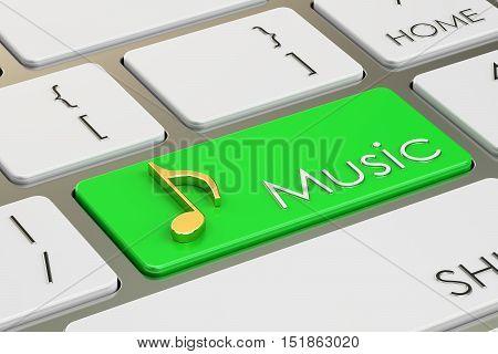 music button key on keyboard. 3D rendering