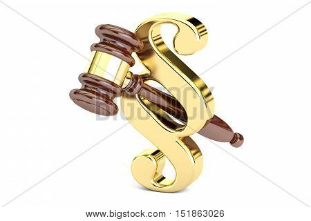 Paragraph law symbol and judge gavel 3D rendering
