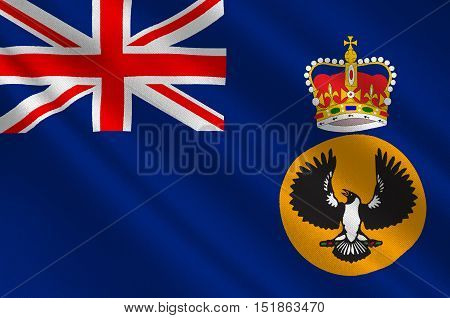 Flag of South Australia (SA) is a state in the southern central part of Australia. 3d illustration