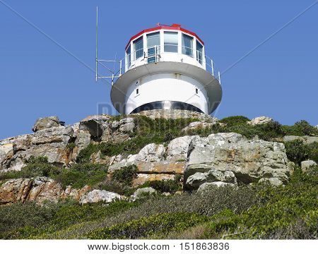 THIS IS THE LIGHT HOUSE AT CAPE POINT, CAPE TOWN SOUTH AFRICA