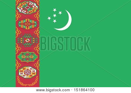 Turkmen national official flag. Patriotic symbol banner element background. Accurate dimensions. Flag of Turkmenistan in correct size and colors vector illustration