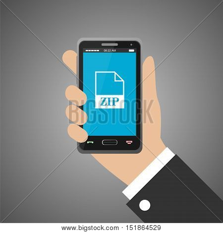 Hand holding smartphone with zip icon on gray background