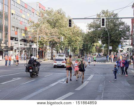 BERLIN GERMANY - SEPTEMBER 25 2016: German Marathon Runner Katharina Heinig Running At Berlin Marathon 2016