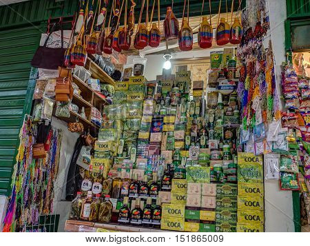 Bogota Colombia - April 29 2016: Stand at the local market where different products from coca can be bought