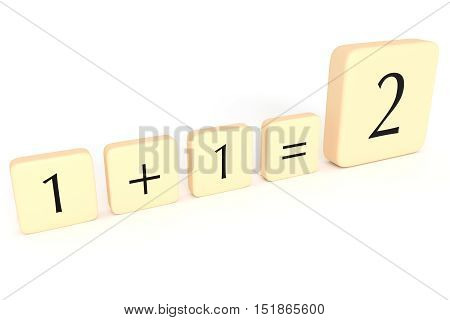 Partnership: Letter Tiles 1+1=2 3d illustration on white background