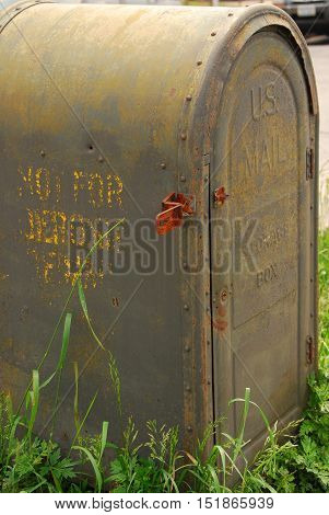Rusty, rustic, grey, green, mail, box, lock, unlock