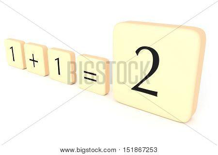 Partnership: Letter Tiles 1 + 1 = 2 3d illustration