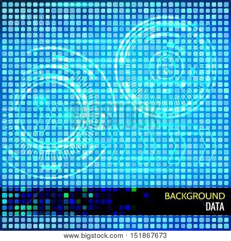 Abstract vector background for data themes. Abstract vector background for data themes. Light cyber HUDs, arrows, binary code on squared background. Elements for data control and protection design.
