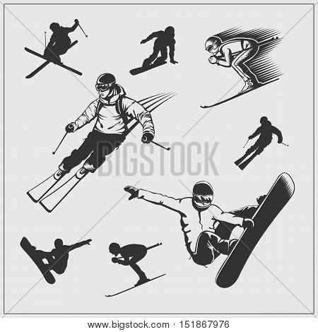 Skiing set. Silhouettes of skiers and snowboarders.