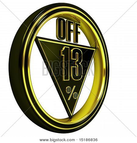 Gold metal thirteen Percent off on white