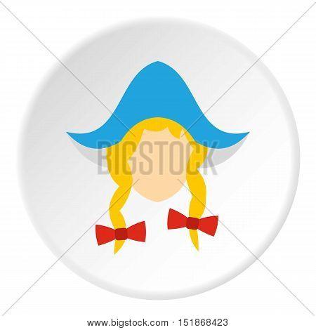 Girl dutch icon. Flat illustration of girl dutch vector icon for web