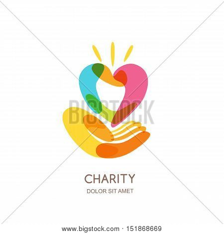 Charity vector logo design template. Abstract colorful heart on human hand isolated icon symbol emblem. Concept for voluntary non profit organization or health and healthcare themes.