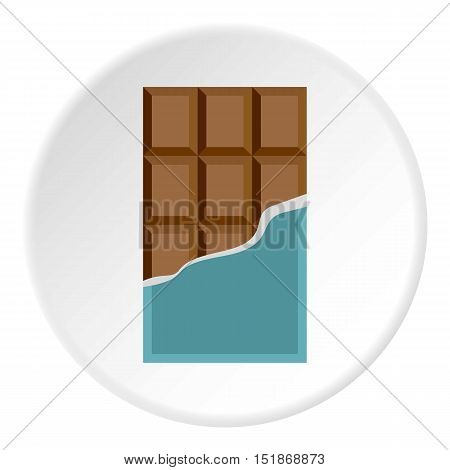 Chocolate bar icon. Flat illustration of chocolate bar vector icon for web
