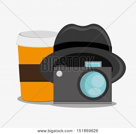 Coffee camera and hat icon. Hipster style vintage retro fashion and culture theme. Colorful design. Vector illustration