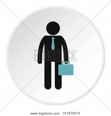 Man with briefcase icon. Flat illustration of man with briefcase vector icon for web