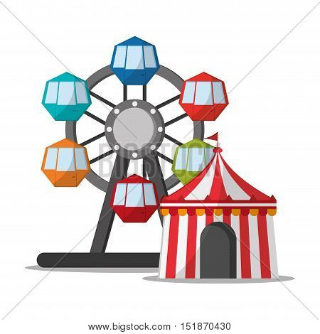 Ferris Wheel and tent icon. Carnival festival fair circus and celebration theme. Colorful design. Vector illustration