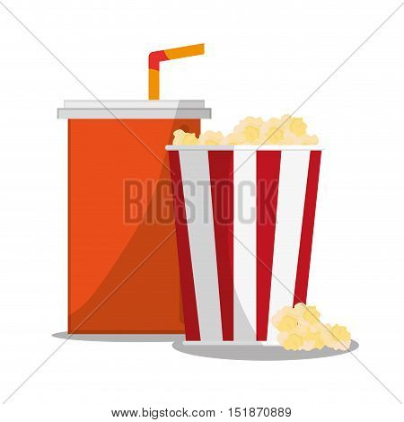 Pop corn and soda icon. Carnival festival fair circus and celebration theme. Colorful design. Vector illustration