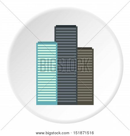 Skyscrapers icon. Flat illustration of skyscrapers vector icon for web