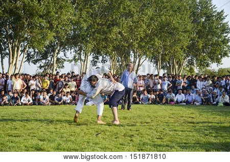 Istanbul Turkey - July 31 2016: Central Asian Turkmen wrestling. in Zeytinburnu district of Istanbul Turkmen wrestling sports events held in the coastal meadows.