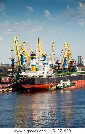 Loading operations at the coal terminal in port of Riga, Latvia