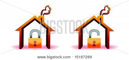 safe and unsafe house icons isolated over a white background