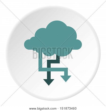 Storing files in cloud icon. Flat illustration of storing files in cloud vector icon for web
