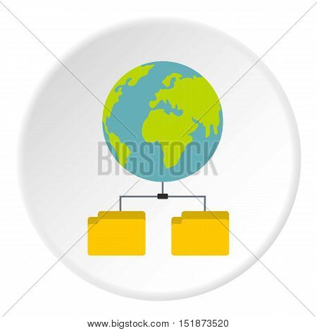 Cloud file storage icon. Flat illustration of cloud file storage vector icon for web