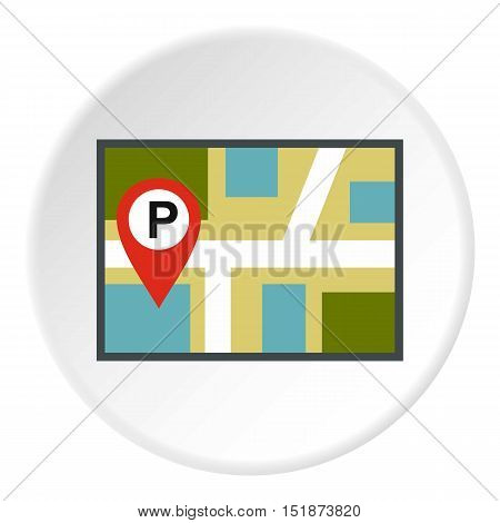 Map of GPS with parking sign icon. Flat illustration of map of GPS with parking sign vector icon for web