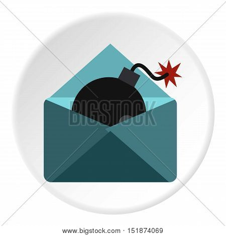 Hacking e-mail icon. Flat illustration of hacking e-mail vector icon for web