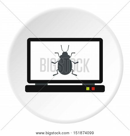 Bug in computer icon. Flat illustration of bug in computer vector icon for web