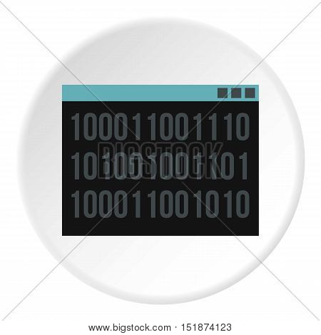Binary code on screen icon. Flat illustration of binary code on screen vector icon for web