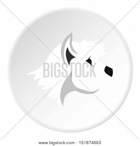 White dog icon. Flat illustration of retriever white dog vector icon for web