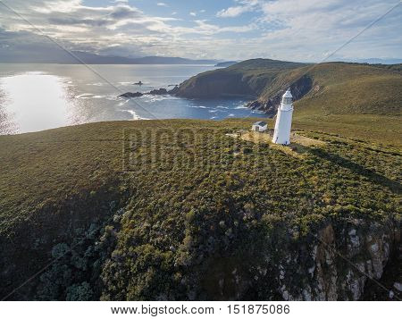 Aerial View Of Bruny Island Lighthouse At Sunset. Tasmania.