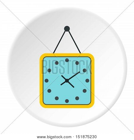 Square wall clock icon. Flat illustration of square wall clock vector icon for web