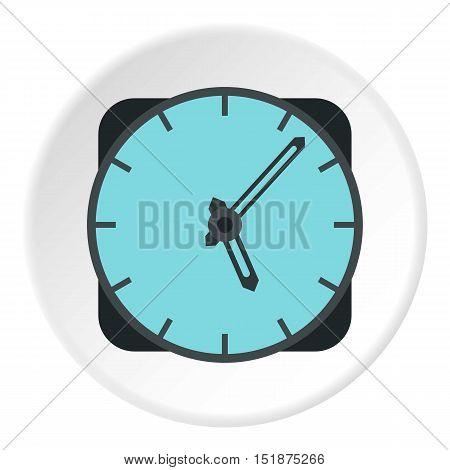 Wall mounted round clock icon. Flat illustration of wall mounted round clock vector icon for web