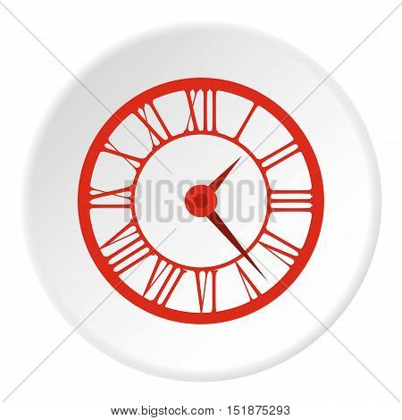 Round clock with roman numerals icon. Flat illustration of round clock with roman numerals vector icon for web