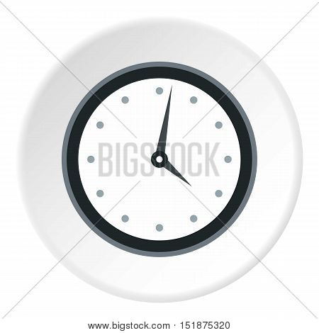 Wall mounted round mechanical watch icon. Flat illustration of wall mounted round mechanical watch vector icon for web