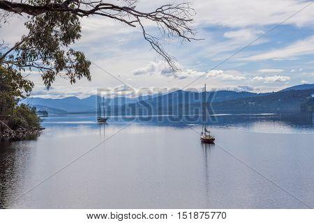 Moored Sailboats On Huon River, Tasmania