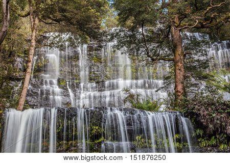 Famous Russel Falls Closeup. Mount Field National Park, Tasmania