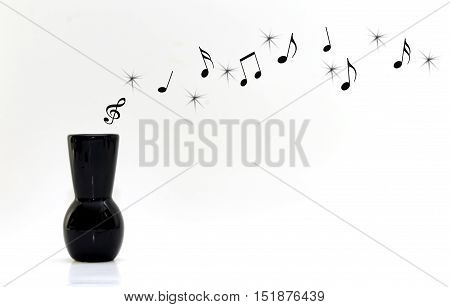 Floating musical notes out of a black vase