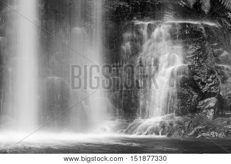 Famous Russel Falls Closeup In Black And White. Mount Field National Park, Tasmania